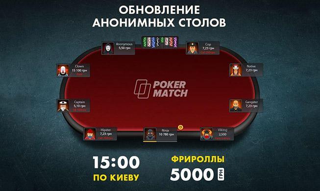 Обновление анонимных столов на PokerMatch с аватарками и фрироллами.